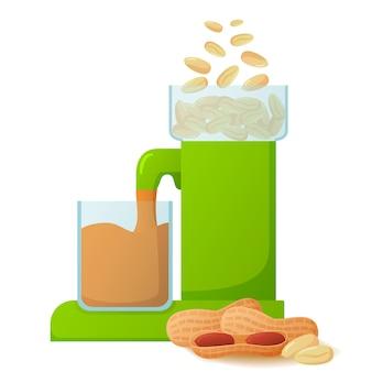 Машина готовит арахисовое масло. производство продуктов питания.