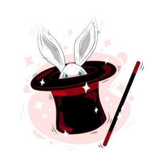 バニーの耳が付いた魔法の帽子、魔法の杖が動いている帽子をかぶった白いウサギと星。漫画のスタイルで。