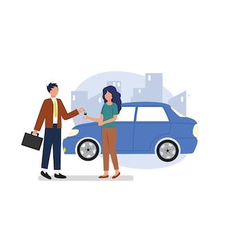 Агент-мужчина заключает сделку с агентом-женщиной. продажа и аренда автомобилей
