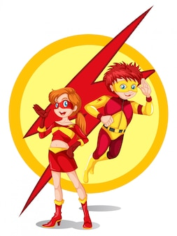 Мужчина и женщина супергерой