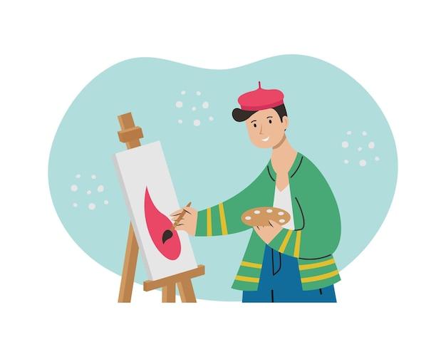 한 남성 예술가가 이젤에 그림을 그리고 있습니다. 창조적 인 직업.