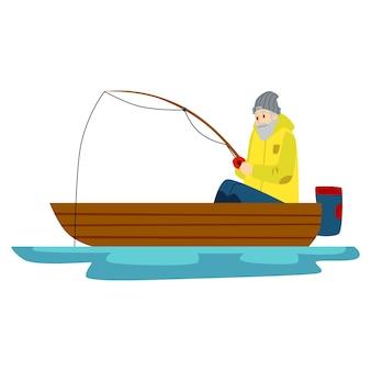 パンを持った男性漁師が湖や川で釣りをしています。ボートで釣りをしている老人。漁師のイラスト。