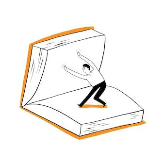 남자, 학생 또는 사업가가 큰 책을 넘기고 있습니다. 벡터 일러스트 레이 션 손 그리기 낙서 스타일