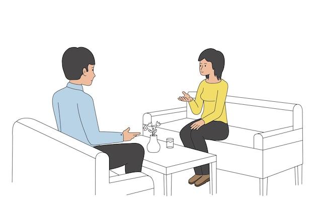 남자와 여자는 소파에 앉아 친근한 대화 개념을 이야기하고 있습니다