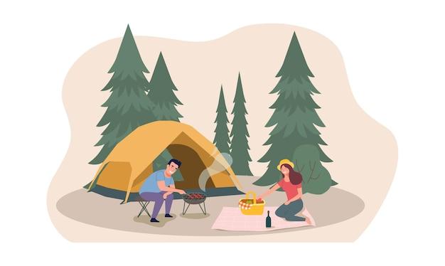 男性と女性がテントキャンプで自然の中でリラックスしています。フラットスタイルのイラスト。