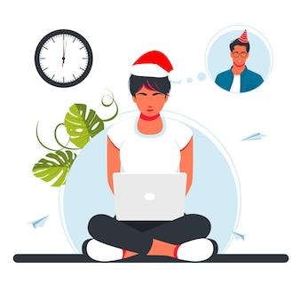 남자와 여자는 크리스마스 밤이나 새해에 비디오 링크로 의사 소통합니다. 온라인으로 새해를 축하하는 친구들. 온라인 파티, 화상 통화. 벡터 일러스트 레이 션. 크리스마스 주말 온라인 모임