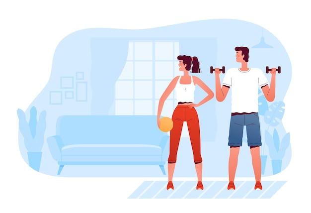 男と女が居間で自宅でスポーツをする