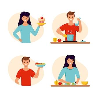 Мужчина и женщина готовят еду на кухне. векторный характер в плоском стиле.