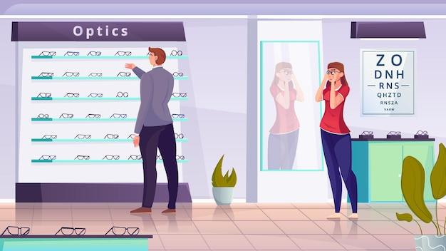 Мужчина и женщина выбирают рамку для плоской иллюстрации оптики