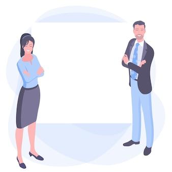 Мужчина и женщина, стоя со скрещенными руками, глядя за доску.