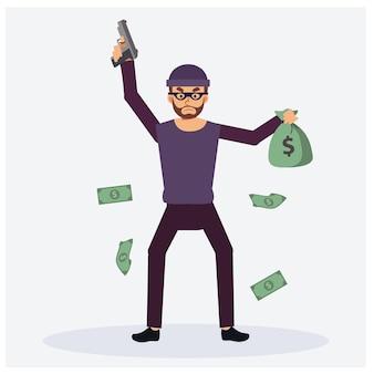 彼の銃を持った悪者としての男は強盗です。片手でお金のベースを持っています。紙幣、フラットベクトル漫画のキャラクターイラストで周りに浮かぶ
