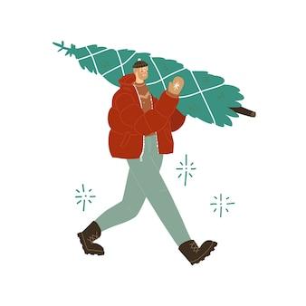 Мужчина несет елку мужчина в зимней одежде пуховик шляпа варежки вектор