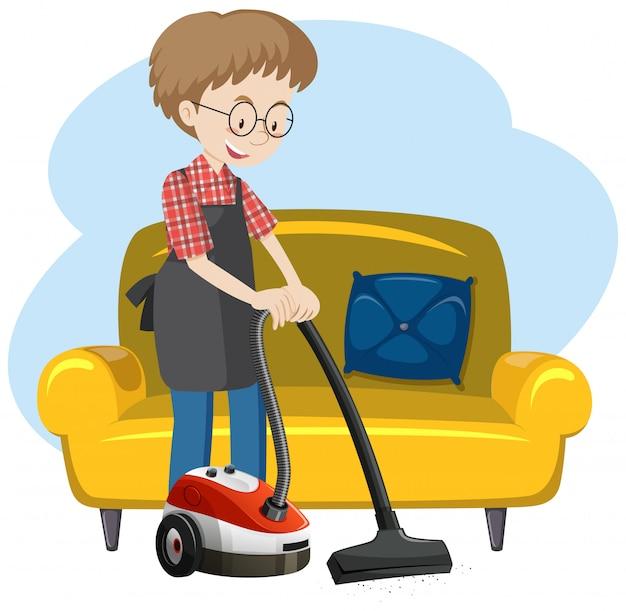 Человек, убирающий дом