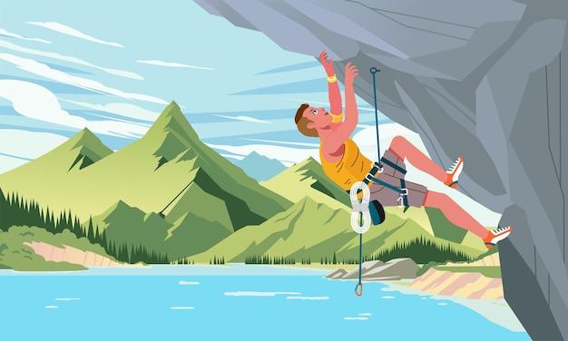Мужчина поднимается на скалистую горную скалу с озером и горным пейзажем