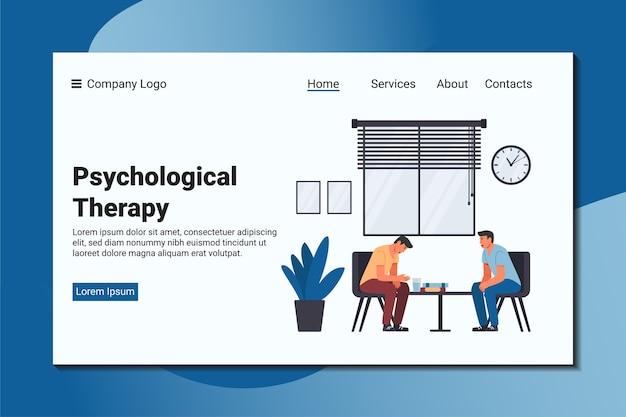 한 남자가 자신의 문제에 대해 정신과 의사에게 불평합니다. 심리적 방문 페이지 템플릿.
