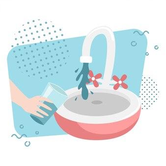 Мужчина набирает воду в стакане из крана. плоская иллюстрация.