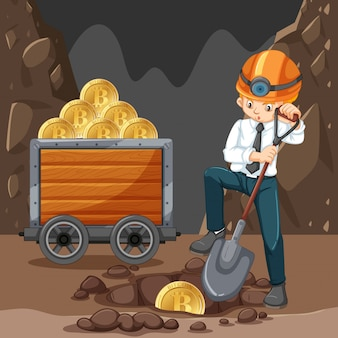 A Man Doing Cryptocoin Mining