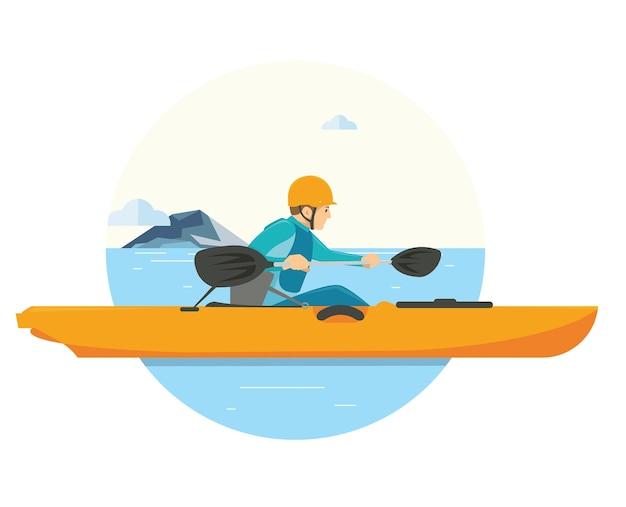 湖で彼の休暇でカヤックをしている男