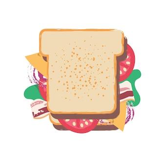 男はフラット漫画スタイルで非常に大きなサンドイッチベクトル面白いイラストを食べる