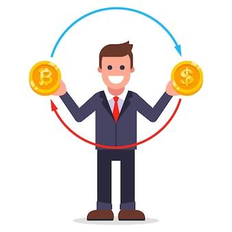 한 남자가 비트코인을 달러로 교환합니다. 동전 형태의 환전. 평면 벡터 일러스트 레이 션.