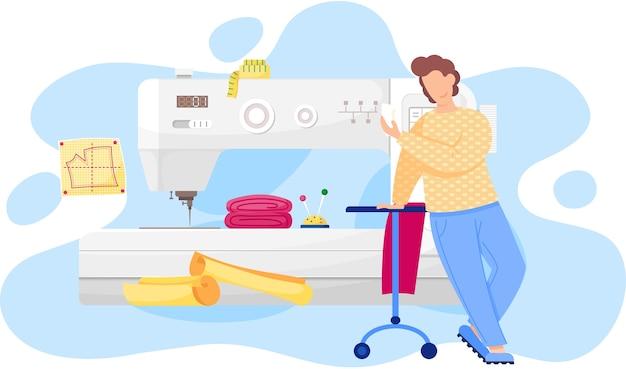 Модельер мужчина делает модель. портниха стоит возле швейной машины и рассматривает выкройку одежды. швейная мастерская, ателье, пошив одежды. концепция производства моды