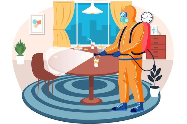 Мужчина из эпидемиологической службы проводит дезинфекцию в ресторане или гостиной, чтобы убить вирусы и бактерии