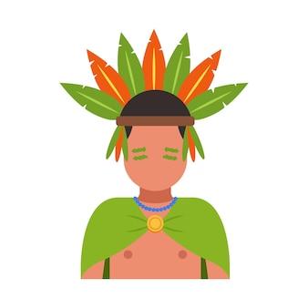 頭に羽をつけた部族の男。フラットベクトルイラスト。