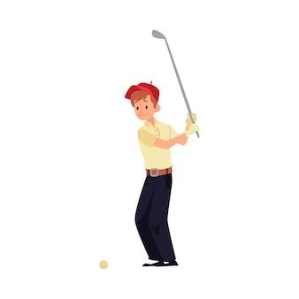 男性ゴルファーが赤い帽子をかぶって立って、クラブで打つ。男はクラブ、スポーツゲームでゴルフをします。