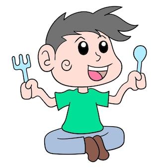 Мужчина держит столовые приборы в ожидании еды, прерывая пост, векторные иллюстрации. каракули изображение значка каваи.