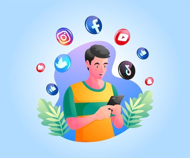 Мужчина держит смартфон и использует социальные сети