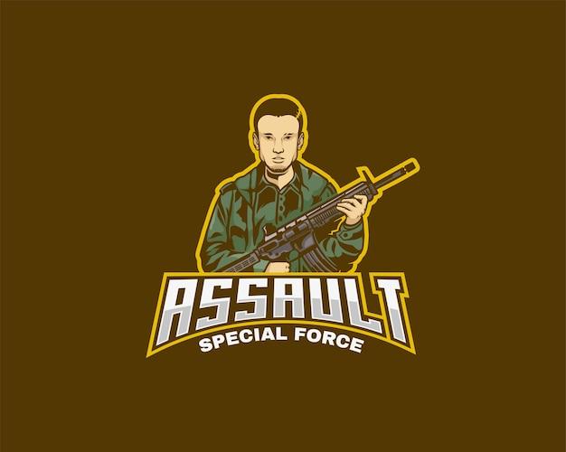 돌격 소총 캐릭터 로고 깃발 또는 e스포츠 팀 로고 디자인 템플릿을 들고 있는 남자
