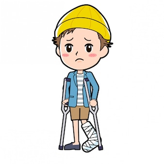 ジャケットとショートパンツの男性は、骨折した足を持っています。