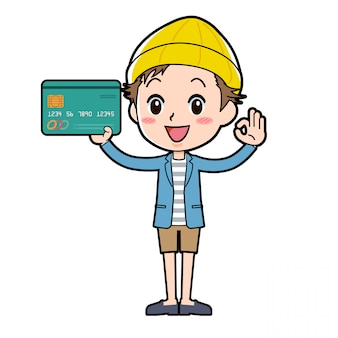 ジャケットとショートパンツにクレジットカードを入れ、okのジェスチャーをしている男性。