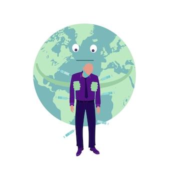 マスクをした男性が、地球の背景に注射器で予防接種を注射されました