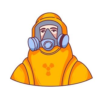보호 복을 입은 남자, 코로 노 바이러스, 보호