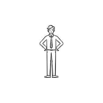양복과 넥타이 손으로 그린 윤곽선 낙서 벡터 아이콘을 입은 남자. 흰색 배경에 격리된 인쇄, 웹, 모바일 및 인포그래픽을 위한 양복과 넥타이 스케치 삽화를 입은 인간의 자세.