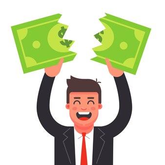 Мужчина в костюме рвет долларовую купюру. финансовый кризис. плоский характер иллюстрации.