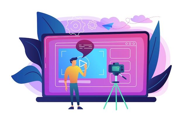 인터넷 그림에서 공유하기 위해 비디오를 녹화하는 카메라 앞에 남자