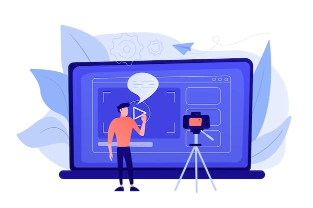 인터넷에서 공유하기 위해 비디오를 녹화하는 카메라 앞에있는 남자. vloger는 블로그 또는 비디오 로그에서 bradcast를 공유합니다. 비디오 블로그, 웹 텔레비전 또는 임베디드 비디오 개념. 바이올렛 팔레트