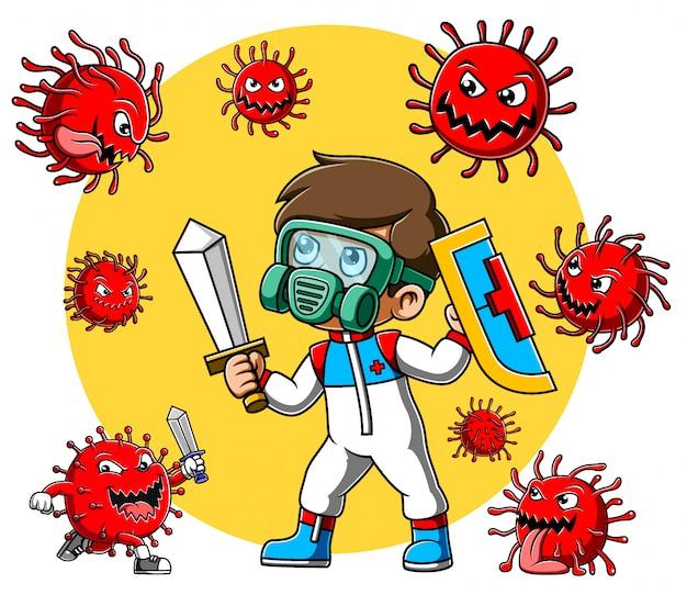 防護服や剣を持った服を着た男がコロナウイルスと戦う