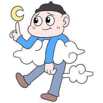 Человек преследует свою мечту взлететь в облаках, касаясь звезд, векторные иллюстрации. каракули изображение значка каваи.