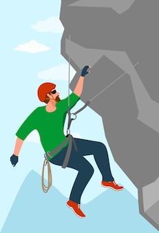 한 남자가 익스트림 스포츠에 종사하고 있습니다. 등산가가 바위 강도와 지구력 훈련을 하고 있습니다