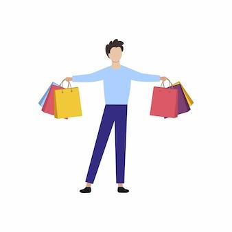 Мужчина держит сумки из супермаркета. концепция скидок, акций и выгодных предложений.