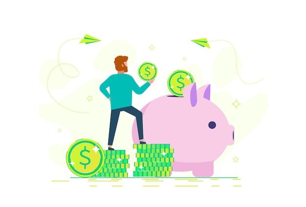 男は貯金箱にお金を貯めています。お金の節約のコンセプト