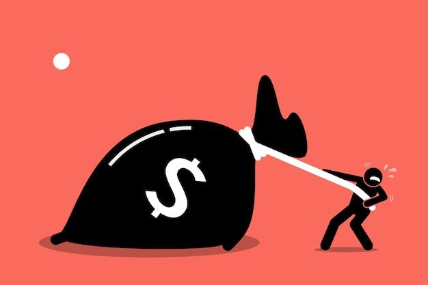 Мужчина изо всех сил пытается вытащить большую сумку с деньгами, потому что она слишком тяжелая. произведение искусства изображает жадность и богатство.
