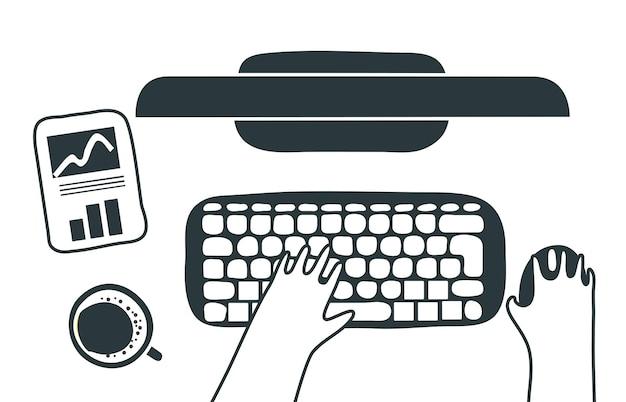 Мужчина печатает на клавиатуре ноутбука на современном белом офисном столе