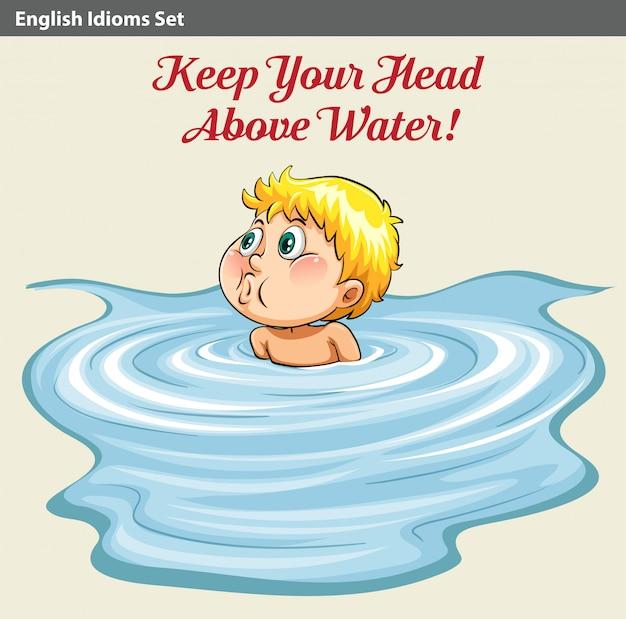 彼の頭を水の上に保っている男
