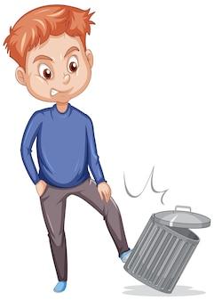 男は白い背景の上のゴミ箱を蹴る