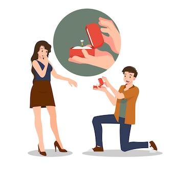 Мужчина стоит на коленях, чтобы подарить замужней женщине кольцо с бриллиантом. дизайн выполнен в романтическом стиле, люди дарят друг другу любовь на празднике любви, таком как день святого валентина.