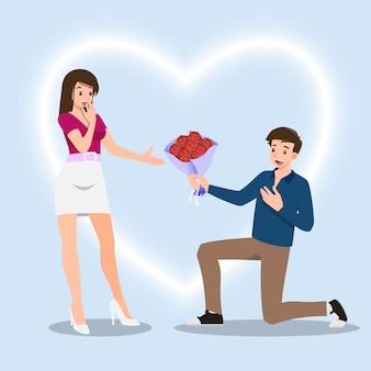 여성에게 장미 꽃을주기 위해 무릎을 꿇고있는 남자. 밸런타인 데이와 같은 사랑의 축제를 위해 서로에게 사랑을주는 사람들의 로맨틱 한 컨셉으로 디자인되었습니다.